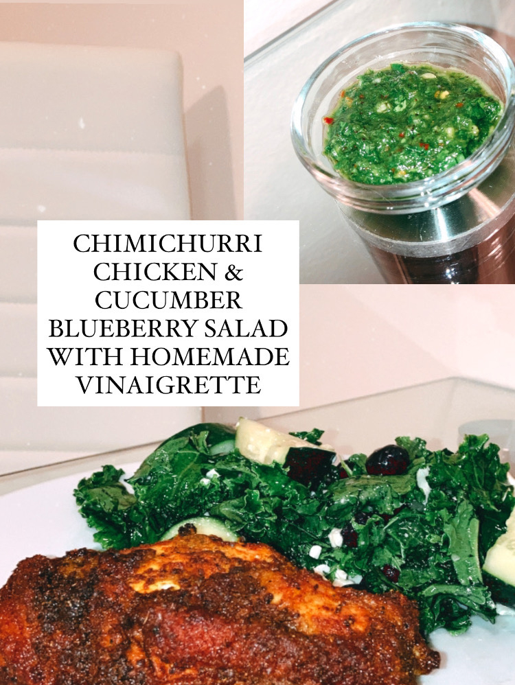 Chimichurri chicken and cucumber blueberry salad