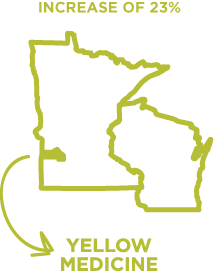 Yellow Medicine County in Minnesota had the highest increase in emergency food services