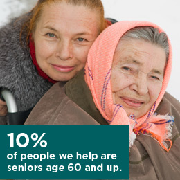 10% of people we help are seniors age 60 and up.